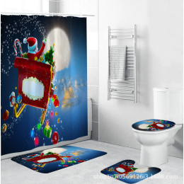 Merry Christmas Decorations Santa Claus Shower Curtain Carpet Mat Christmas Decoration for Home Xmas Party Navidad New Year 2021