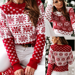 2020 Autumn and Winter European and American New Knitted Sweater Women's Christmas Snowflake Long-Sleeved Knitted Sweater