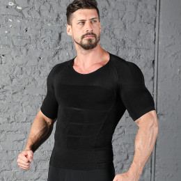 Round neck moisture wicking sports body shaping light press short sleeve sports training quick-drying underwear for men