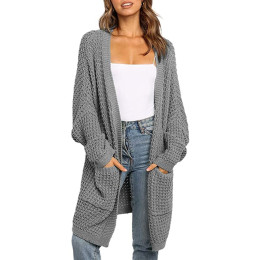 Long Sweater Cardigan Autumn Winter Ladies Knitted Long Sleeve Tops