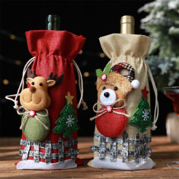 Christmas Red Wine Bottle Covers Bag Linen Holiday Santa Claus Champagne Bottle Cover Christmas Decorations For Home