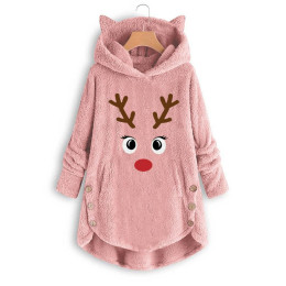 women's fashion printed cat ears hooded large size long sleeve button sweater warm pullover christmas casual blouses
