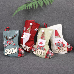 2021Christmas Stockings Santa Candy Bag Sock Gift Kids Candy Bag Xmas Decoration for Home Christmas Tree Ornaments Navidad