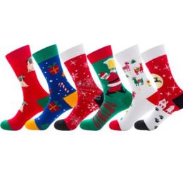 new socks mens combed cotton socks christmas tree crew sock Santa claus snowflake holiday gift socks