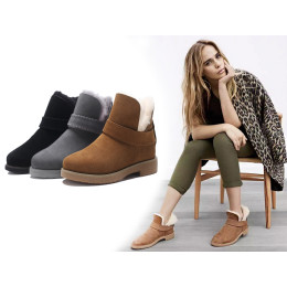 Genuine Leather wool snow Short tube boots