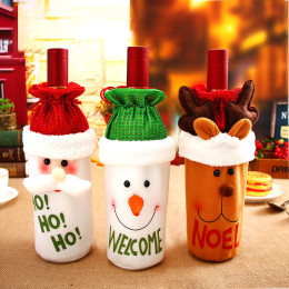 2021 New Year Santa Claus Snowman Wine Bottle Dust Cover Xmas Gift Noel Deco Christmas Decorations for Home Dinner Table Decor