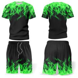 Men's 3D Flame T shirt Set