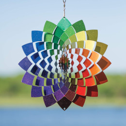 3D three dimensional stainless steel color metal rotating wind chime