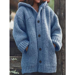Button Down Hooded Knitted Cardigan