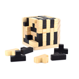 Brain Teaser IQ Game Tetris Cube with Wooden 3D Puzzles