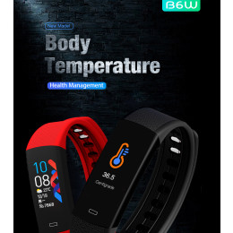 B6W Smart Wrist Watch with Body Temperature, Waterproof Heart Rate Monitor, Smart Bracelet, Fitness & Health Tracker