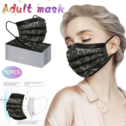 50pc adult fashion tie protection disposable three layer breathable face mask  dustproof mask disposable mouth mask