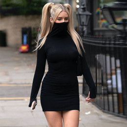Freet's new products in autumn 2020 are hot selling slim mask short skirt sexy long-sleeved dress women's hot style