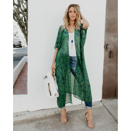 Chiffon Women Kimono Long Sleeve Beach Cardigan Ladies Dress Loose Leaf Pattern Tie Wrap Beachwear Long Dress