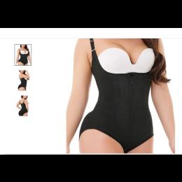One-piece hip shaping bodysuit (stretch mesh material); no bra!