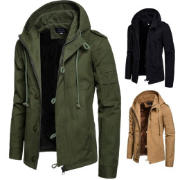 Men's Hooded Cotton Jacket Cardigan Sports Outdoor Jacket