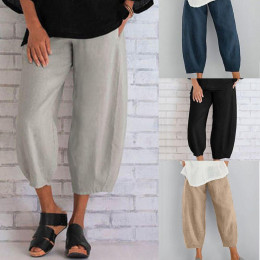 Pure color plus size women's simple loose casual cropped trousers