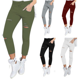 Women Pencil pants Ripped Capri-pants leggings