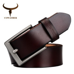COWATHER  men belt cow genuine leather luxury strap male belts