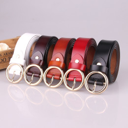 Waistband Strap Golden Round Buckle Leather Belt