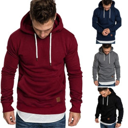 Plain lace up pullover men's hoodie with pocket