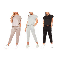 Women Short sleeve cropped trousers casual loose lightweight Tracksuit