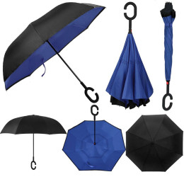 Double-Layer Windproof Reverse-Folding Smart Umbrella with UV Protection