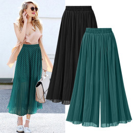 Wide pants in chiffon
