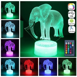 7 color chagning 3D Elephant LED optical illusion Night Light that inspires your kids