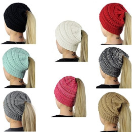 Women's Cold Weather Cable Knit Ponytail Beanie Hat