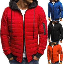 4 Colors Plus Size M-3XL Men's Warm coat Hooded Puffer Cotton jacket