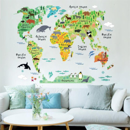 Colorful Animal World Map Stickers