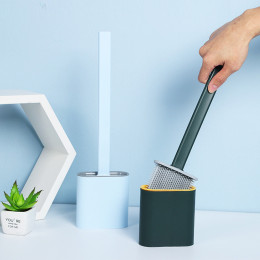 A revolutionary toilet brush with a flexible, D-shaped silicone head that reaches all areas, even under the rim