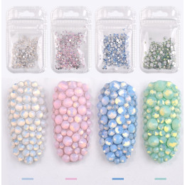 4pack Colorful Rhinestone Nail Art Decoration 3D Manicure Books Accessory Tools