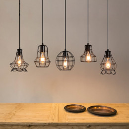 Retro Industrial Style Personality Iron Cage Art Hanging Line Lamp
