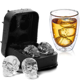 Silicone skull ice cube mold melt slowly and keep drinks cooler for longer