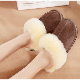 Winter Home Slippers Sheepskin Wool Slippers House Shoes