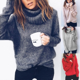 Women Soild Color Turtleneck Neck Sweater