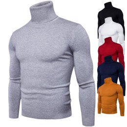 Winter Men's Sweater Long Sleeve High Neck Sweaters