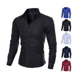 Men's Long Sleeve Diamond lattice pattern slimm fit shirt