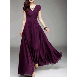 V-neck short-sleeved bohemian chiffon waist dress