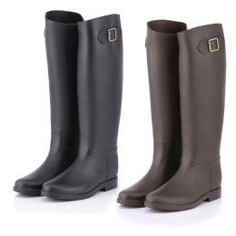Women New Fashion Rain High Knee Length Black Rubber Boots Shoes