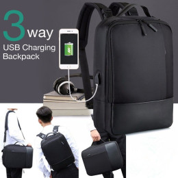 3IN1 Anti-Theft Backpack with USB Charging Port Multifunctional Backpacks for Mens