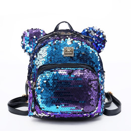 Girls Kids PU Leather Sequins Backpack