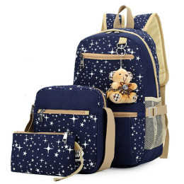 3pcs/set Women Grils Star Printing Cute Backpacks With Bear decorate