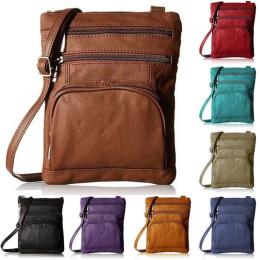 Multi-Pocket Leather Crossbody Messenger Bag