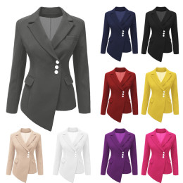 Women's Notched Lapel Button Office Blazer