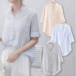 V-neck striped three-quarter sleeve women's shirt