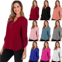 Womens Casual Long sleeve V Neck Zip Up Chiffon Blouse Shirts