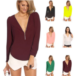 V-neck chiffon blouse